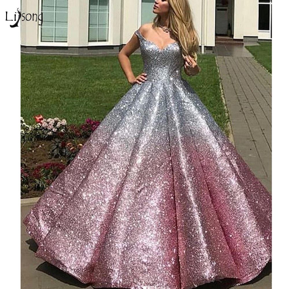 Luxury Bling Bling Mix Color Sequined Lush Ball Gowns 2019 Fashion Puffy   Prom     Dresses   Plus Size   Prom   Gowns Lace Up Formal   Dress