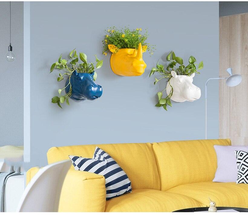 Creative Resin Rhinoceros Hippo Animal Head Wall Decoration Wall Hanging Hydroponic Plant Vase Home Decoration Wall Hanging