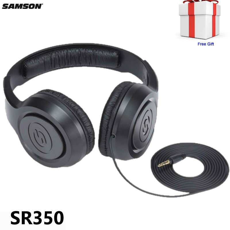 Samson Sr350 Closed Back Over-ear Stereo Headphones Dynamic Headphone For Music Playback / Fitness Applications With Free Gift image