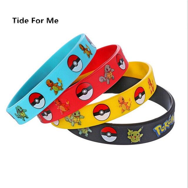 16pcs Lot Charm Wristband Band Pokemon Go Silicone Bracelet Bangles Men Kids Black Rubber