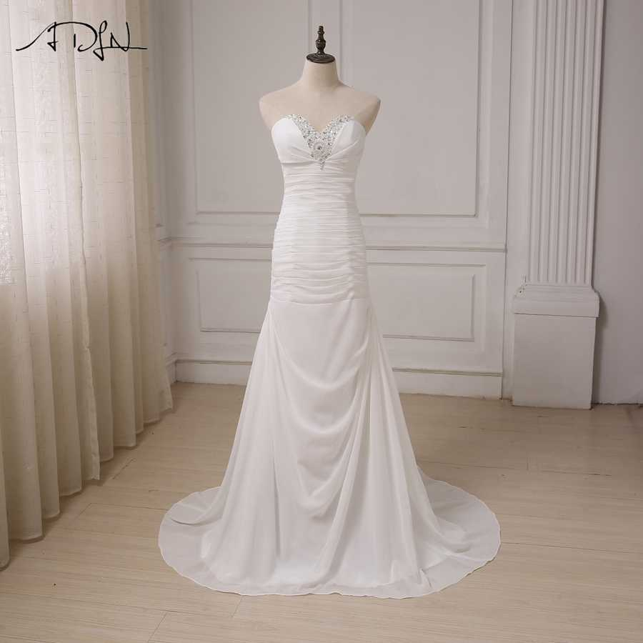 ADLN Cheap Beach Wedding Dresses Beaded Sweetheart Chiffon Pleats Bridal  Gowns Vestido De Novia Plus Size 05f9a074b224