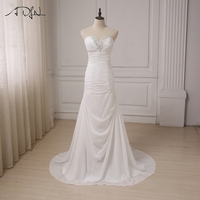 ADLN Cheap Beach Wedding Dresses Beaded Sweetheart Chiffon Pleats Bridal Gowns Vestido De Novia Plus Size