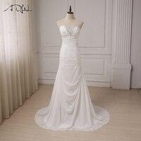 ADLN Cheap Beach Wedding Dresses Beaded Sweetheart Chiffon Pleats Bridal Gowns Vestido De Novia Plus Size
