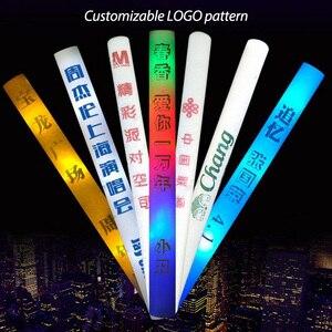 Image 2 - 100PCS Multi color Customized DIY Logo Foam Sticks LED Glow Stick Baton Wands
