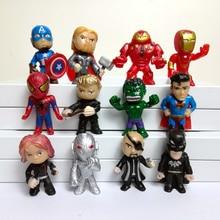 12pcs/set  Q style 3-5cm The Avengers figures  Super man mini dolls PVC toys for boys