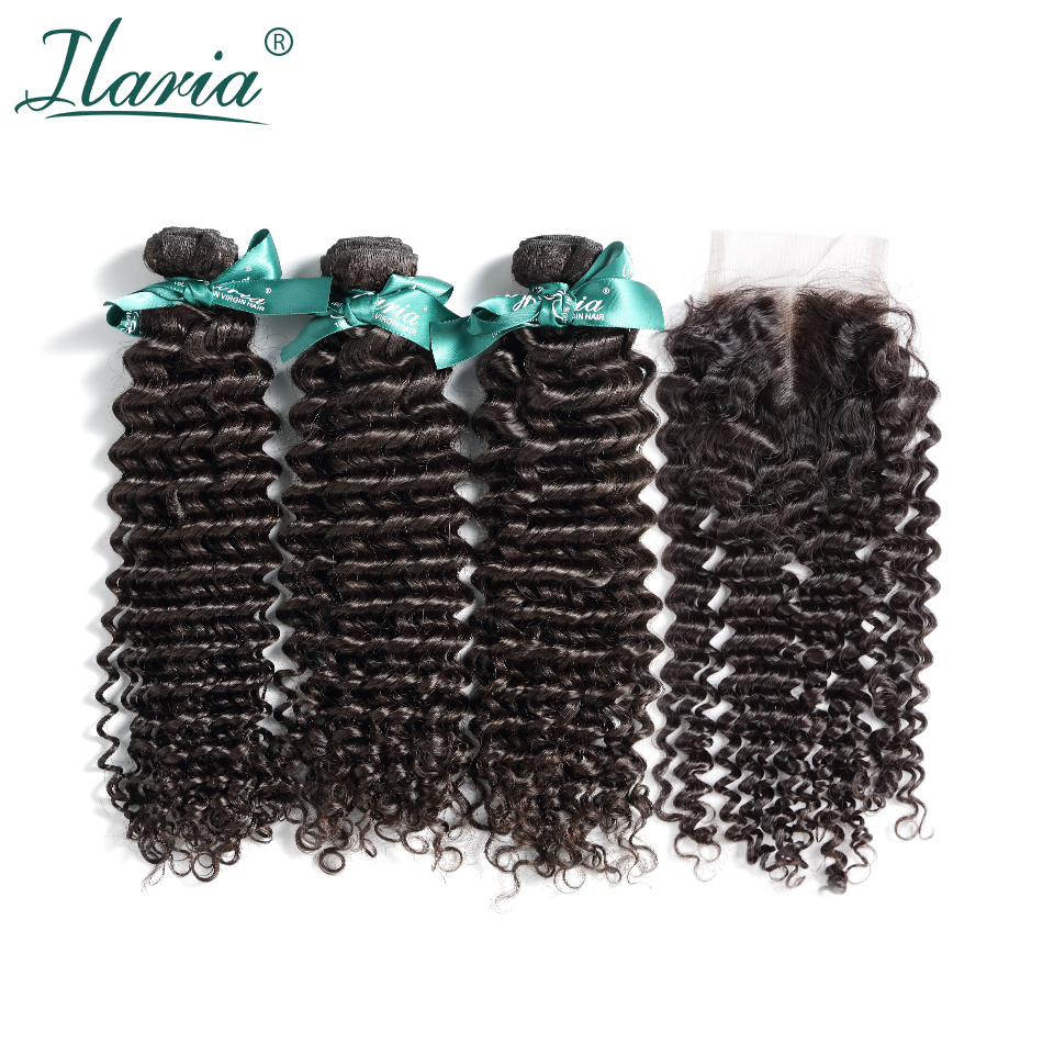 ILARIA HAIR Malaysian Curly Human Hair Bundles With Closure Deep Wave 100% Natural Remy Hair Weave 3 Bundles With Lace Closure image