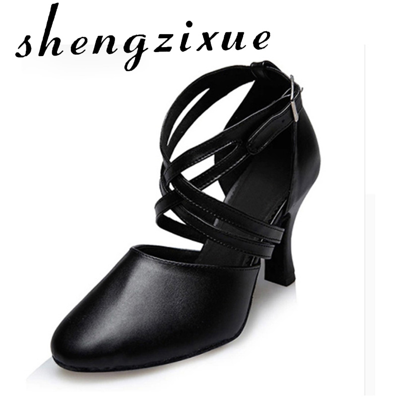 WUXIJIAO New Women's Genuine Leather Black Latin / Modern Dance Shoes Tango Party Wedding Square Dance Shoes Heels