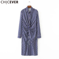 CHICEVER Long Sleeve Women Striped Shirts Dress Autumn 2017 Big Size Tunic Midi Dresses Female Lapel