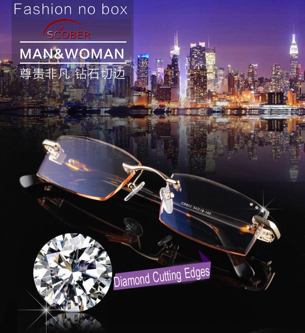= SCOBER = Diamant de coupe 100% alliage de Titane Sans Monture Royal Deluxe hommes femmes Gradient lunettes de lecture + 1 + 1.5 + 2 + 2.5 + 3