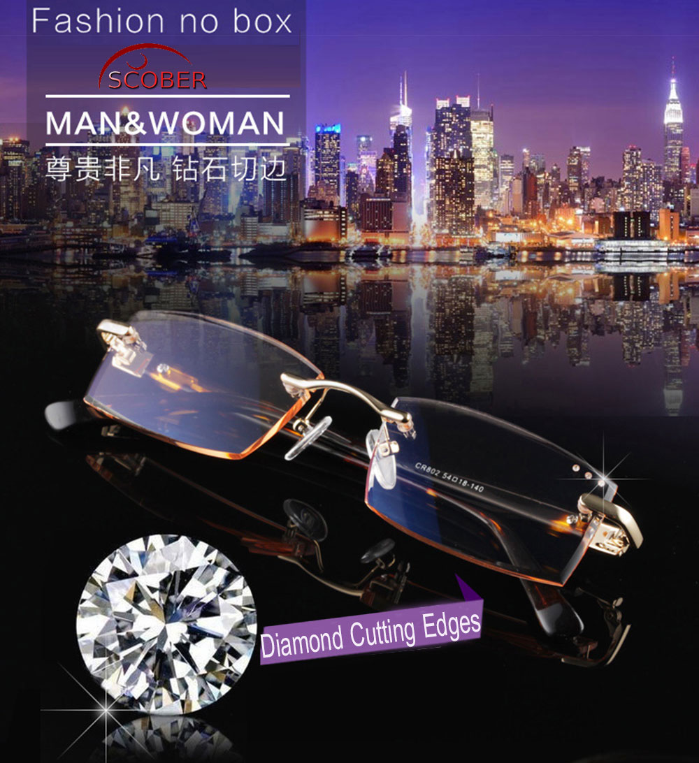 = SCOBER = Diamond Cutting 100% Titanium Alloy Rimless Royal Deluxe Men Women Gradient Reading Glasses +1 +1.5 +2 +2.5 +3