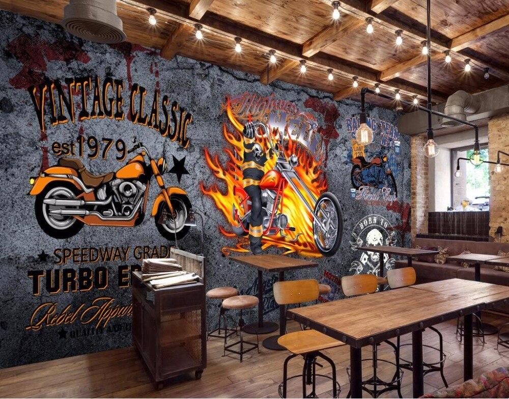 Custom Mural 3d Photo Wallpaper Vintage Motorcycle Bar Decorpainting