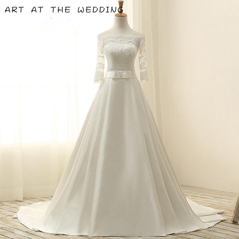 Robes De Noiva 2019 Luxruy Baljurk Kant Trouwjurken 2015 Satin Avec - Robes de mariée