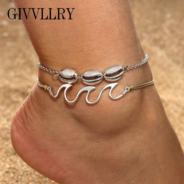 850a0708701 GIVVLLRY Triple Wave Geometric Charm Anklets for Women Bohemian Vintage  Silver Color Shell Chain Ankle Bracelet