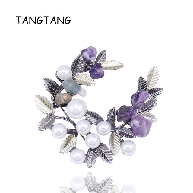 New Elegant Anadem Flower Simulated Pearl Vintage Nature Stone Garland Brooches for Women Dress New Fashion Item NO.: BH8123
