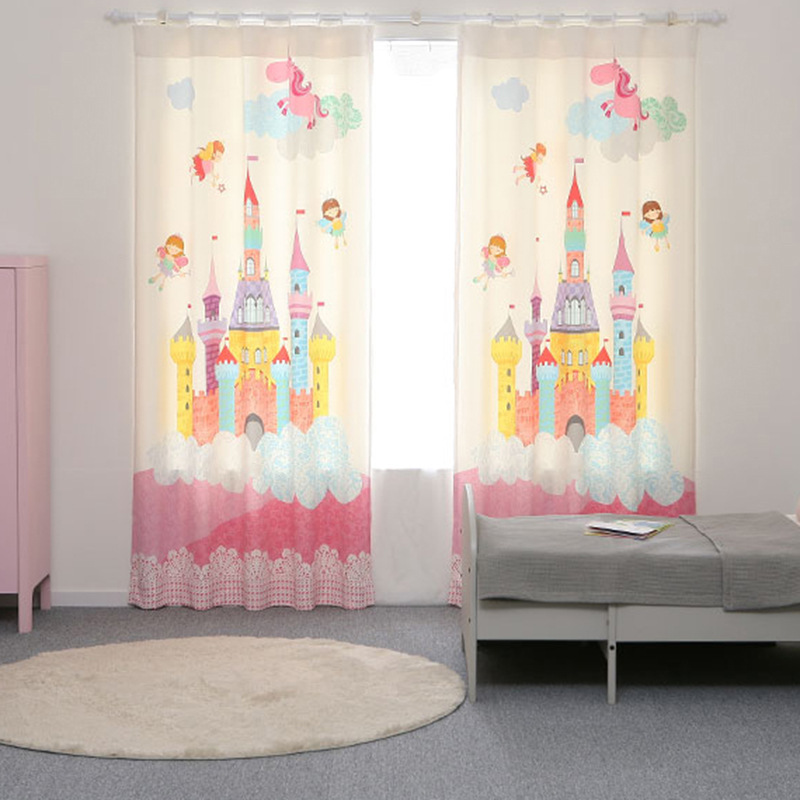 2018 New Print Curtains For Living Dining Room Bedroom Shade Curtain Korean Castle Child Curtain