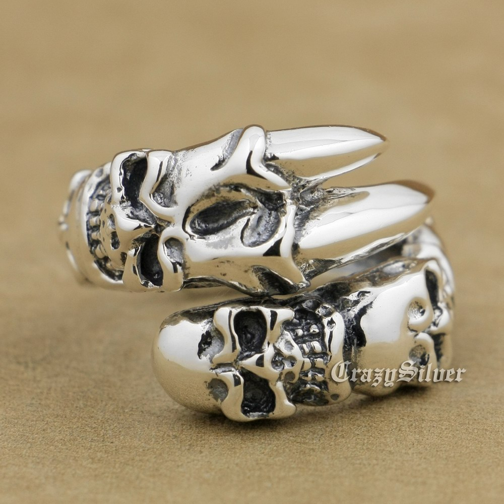 925 Sterling Silver Skull Claw Mens Biker Rocker Punk Ring 9W008 Free Size 9 to 11 stainless steel claw skull ring