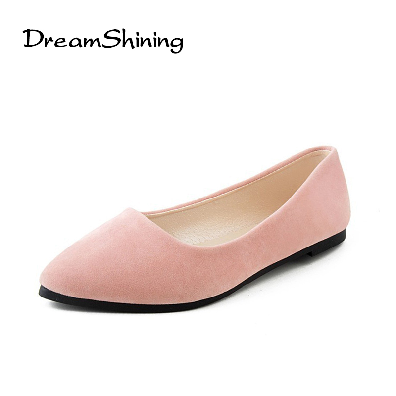 DreamShining Fashion Women Shoes Woman Flats High Wuality Suede Casual Comfortable Pointed Toe Rubber Women Flat Shoe New Flats fashion women shoes woman flats high quality comfortable pointed toe rubber women sweet flats hot sale shoes size 35 40