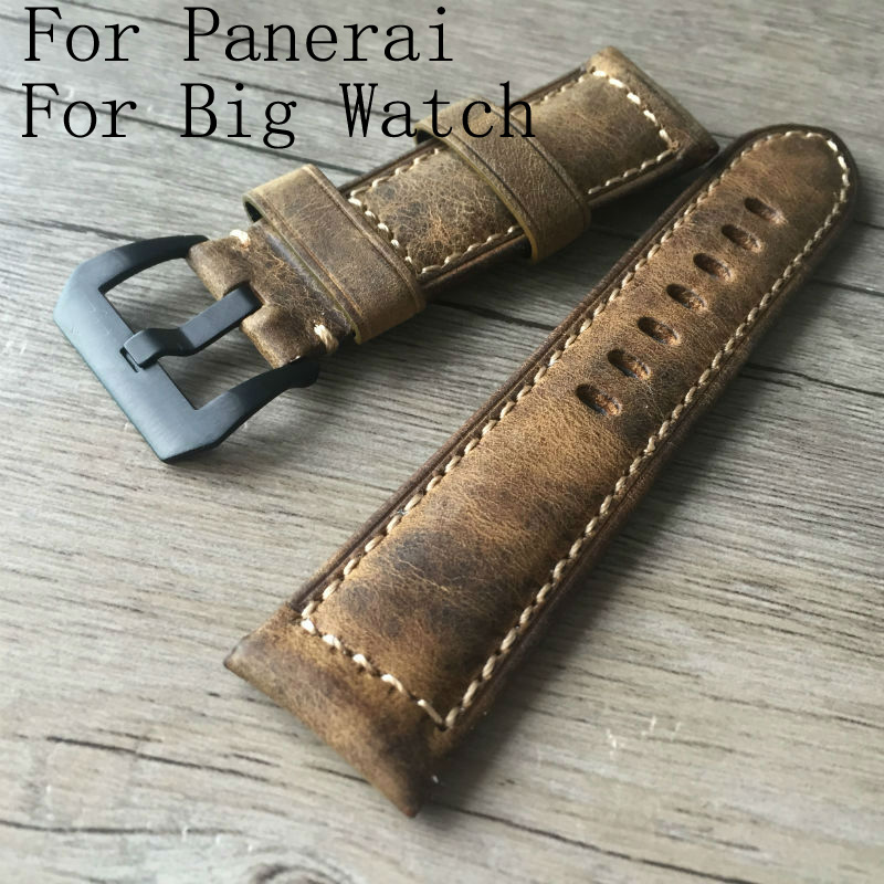 Handmade 24mm Retro Brown Cowhide  Genuine Leather Watch band Strap + Buckle Generic Fit PAM For Big Polit Watch new arrive top quality oil red brown 24mm italian vintage genuine leather watch band strap for panerai pam and big pilot watch