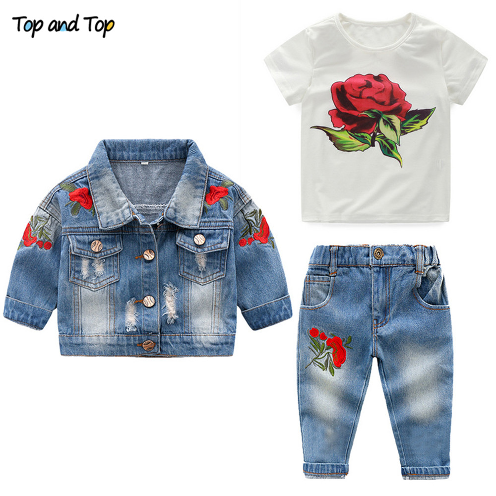 Top and Top Fashion Girls Clothing Set Embroidery Coat+Short Sleeve T-shirt+Trousers Casual Outfits for Girls Kids Denim Suit fashion baby girl t shirt set cotton heart print shirt hole denim cropped trousers casual polka dot children clothing set