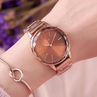 2018 Original GUOU Brand Simple Style Crystal Black White Red Purple Rose Gold Steel Quartz Bracelet Wrist Watch for Women Girls