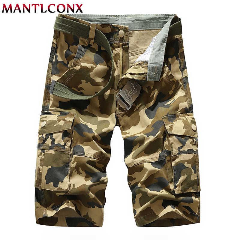 MANTLCONX yaz çok cep askeri kargo şort erkek pamuk şort askeri kısa pantolon erkekler gevşek iş şort büyük boy 38 40