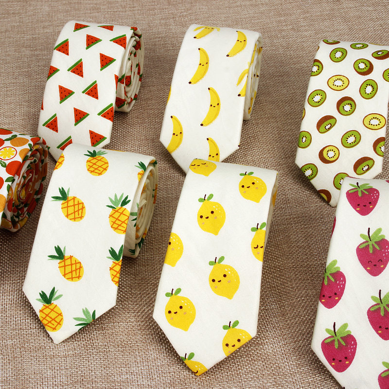 Cotton Men's Colourful Tie Banana Fruits Ties For Man Narrow Necktie Slim Skinny Cravate Narrow Thick Adults Women Neckties