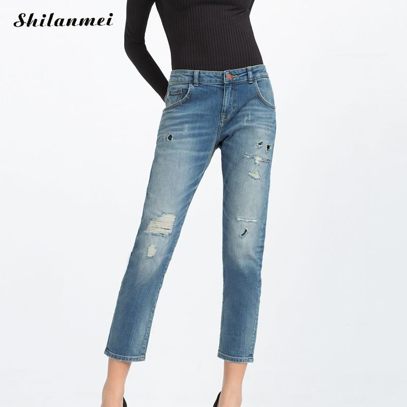 2017 Women Skinny Jeans New Spring Fashion Pencil Pants Denim Strech Blue Hole Ripped High Quality Jean Boyfriend jeans frau  2017 women blue skinny jeans new fall fashion pencil pants denim strech hole ripped high waist plus size jeans american apparel