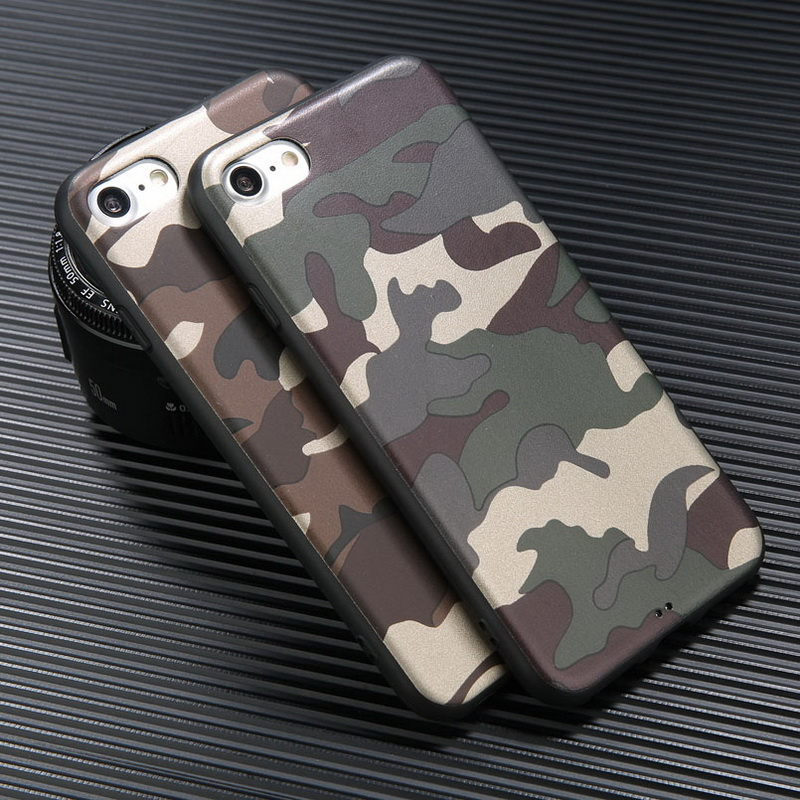 Phone Case For iPhone X 8 7 6 6S Plus Army Green Camouflage Cover For Samsung Galaxy S8 Plus Soft TPU Silicon Shockproof Coque