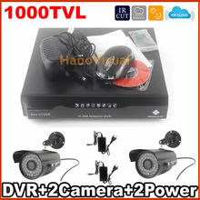 Surveillance Safety Digital camera CCTV System 2pcs 1000TVL CMOS CCTV Digital camera Package 4CH DVR Package Recorder Residence Safety Digital camera System