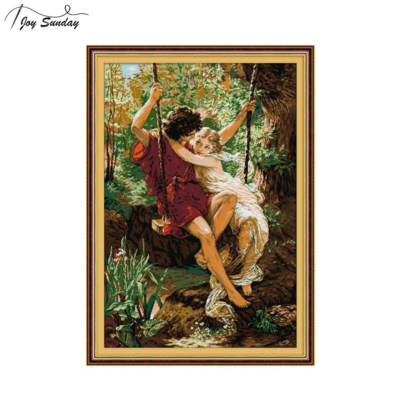 Character Series 11CT 14CT Chinese Cross Stitch DMC Couple Swinging Good Time European Style Handmade Sewing Canvas Embroidery in Package from Home Garden