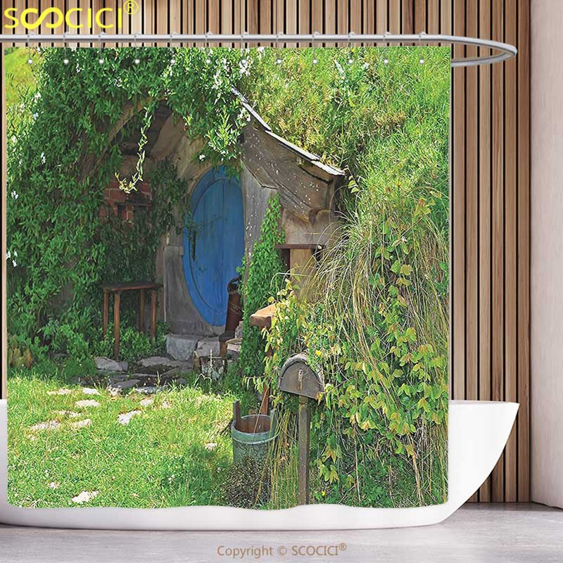 Cool Shower Curtain Hobbits Fantasy Hobbit Land House in Magical Overhill Woods Movie Scene Image New Zealand Green Brown Blue