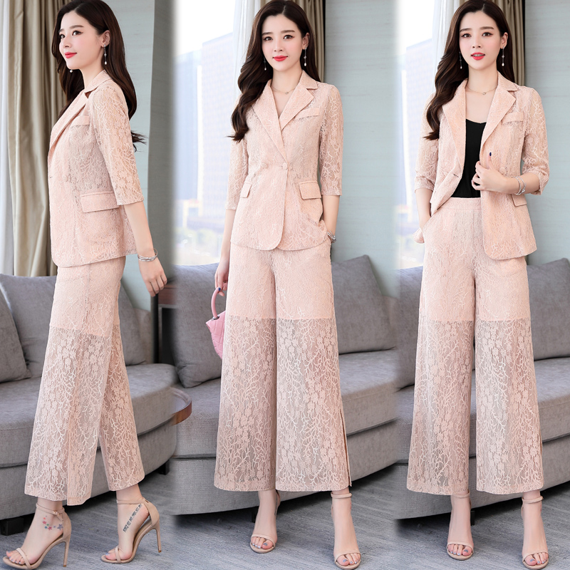 Spring 2 Piece Set Women Two Piece Outfits Woman Suits Lady Suit Office Lace Suit Ensemble Femme Deux Pieces Conjunto Feminino thumbnail