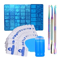 Full Beauty 1 Sets Nail Art Stamping Set Remover Rainbow Cuticle Pusher Wipe Stamper Manicure Polish Gel Kits Nail Stencil CH075