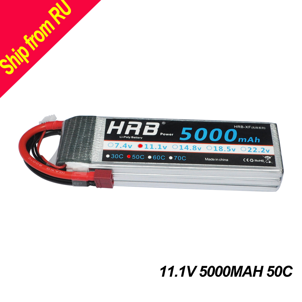 HRB RC Lipo 3s 11.1V Battery 5000mAh 50C MAX 100C RC Bateria For RC Helicopters Airplane Car Drone FPV 450 500 AKKU Quadcopter yowoo fpv 450 500 akku lipo battery 2s 3s 7 4v 11 1v 5000mah 50c max 100c for traxxas helicopter fpv 450 airplane quadcopter car
