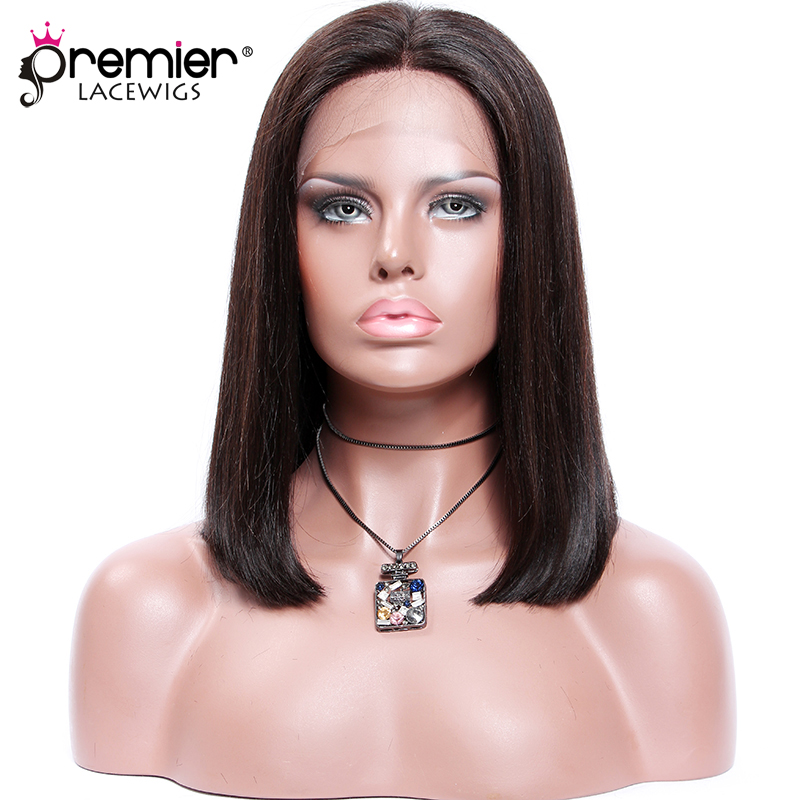 PREMIER Deep Part Lace Front Wigs Blunt Cut Bob Style,4.5 Middle Part,Pre-Plucked Indian Remy Human Hair[CLFW-64]