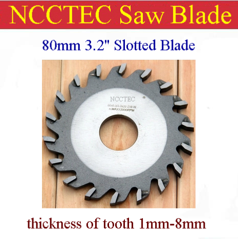 3.2'' 80mm Wood Aluminum Carbide Thick Slotted Blade | Thickness Of Tooth 1-8mm | Gangsaw To Open A Channel Alternate Top Bevel