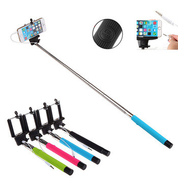 New Extendable Handheld Selfie Stick With Remote Shutter Button 3.5mm Cable Wired Selfie Monopod For Android IOS Phone 1