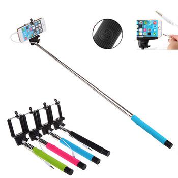 """Nowy wysuwana ręczny kij do Selfie z zdalna migawka proszę kliknąć na przycisk """" 3 5mm kabel przewodowy Monopod do robienia Selfie dla Android IOS telefon tanie i dobre opinie centechia Other Smartfony about 128g"""