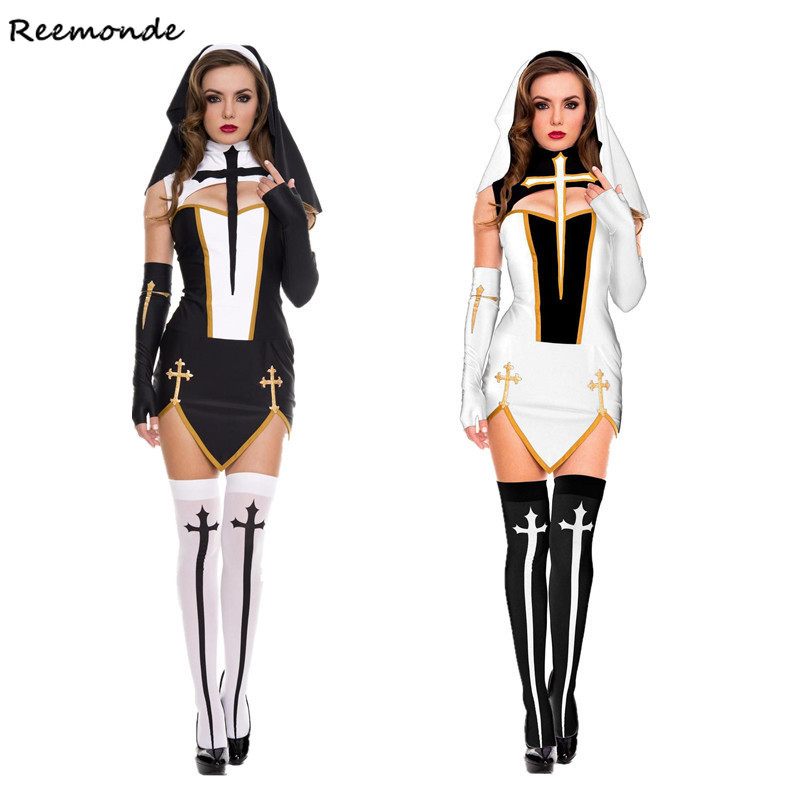 Catholic Virgin Mary The Nun Cosplay Costumes Dresses Headgear Gloves Socks Ladies Casual Black White Sleeveless Women Halloween