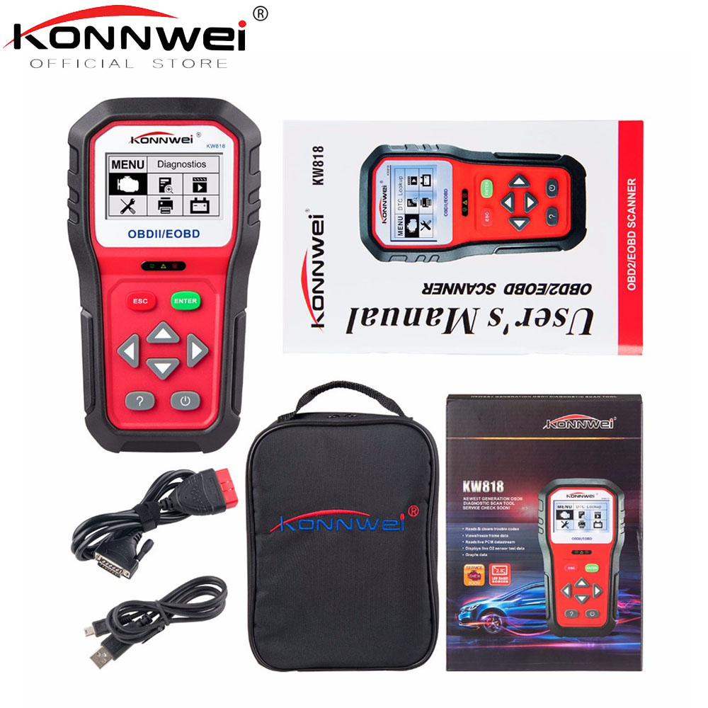 Universal OBD2 Scanner KONNWEI KW818 Auto Scanner OBDII Diagnostic Tool ODB II Check Engine Engine Automotive Code Reader Tools universal obd2 auto scanner foxwell nt301 auto diagnostic tool engine scanner fault code reader with o2 sensor same as al519