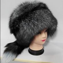 Роскошь естественная лисий мех принцесса шляпа русский стиль большой размер зима тёплый настоящее лисий мех снег шляпы для женщины