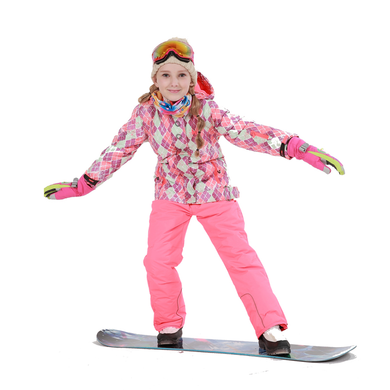 Dollplus 2018 Winter Outdoor Children Set Windproof Jackets + Ski Pants Kids Snow Skiing Warm Sport Suit for Girls Clothes 6-16T цены онлайн