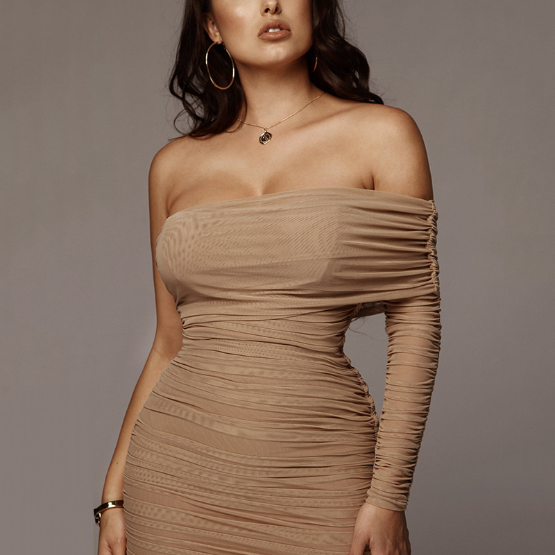 Ameision Pleated sexy one shoulder maxi dress Women irregular bodycon split holiday slim party dresses Elegant club dress ladies in Dresses from Women 39 s Clothing