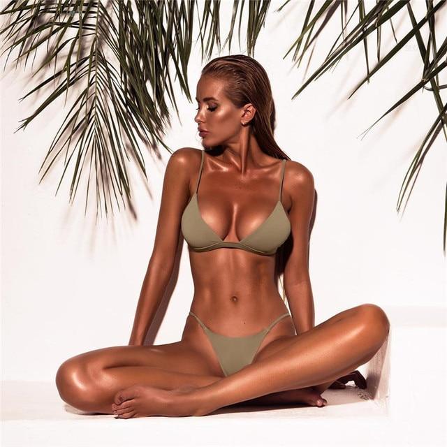 Yellow Solid Brazilian Thong Bikini 8