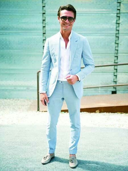 Sky Blue Spring Summer Men Suits Slim Fit Casual Custom Party Prom ...