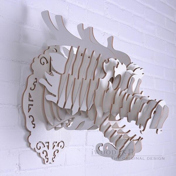 1 set 9 couleur 15*17 pouces Dragon chinois bricolage animaux en bois tête tenture murale pour Art maison décoration murale IW-WD011 - 2