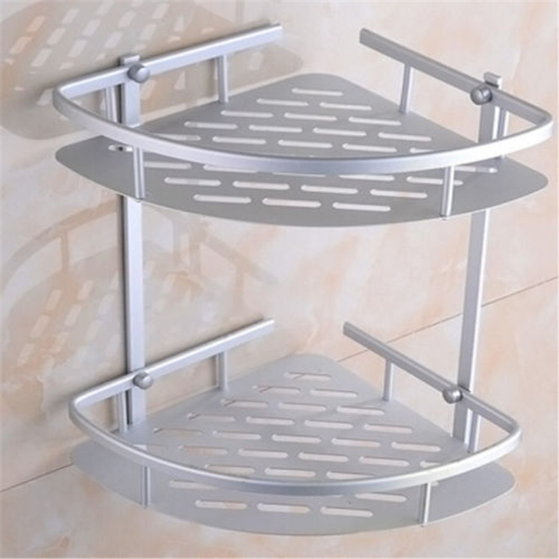 Hot Two Layer Wall Mounted Bathroom Rack Towel Washing Shower Basket ...
