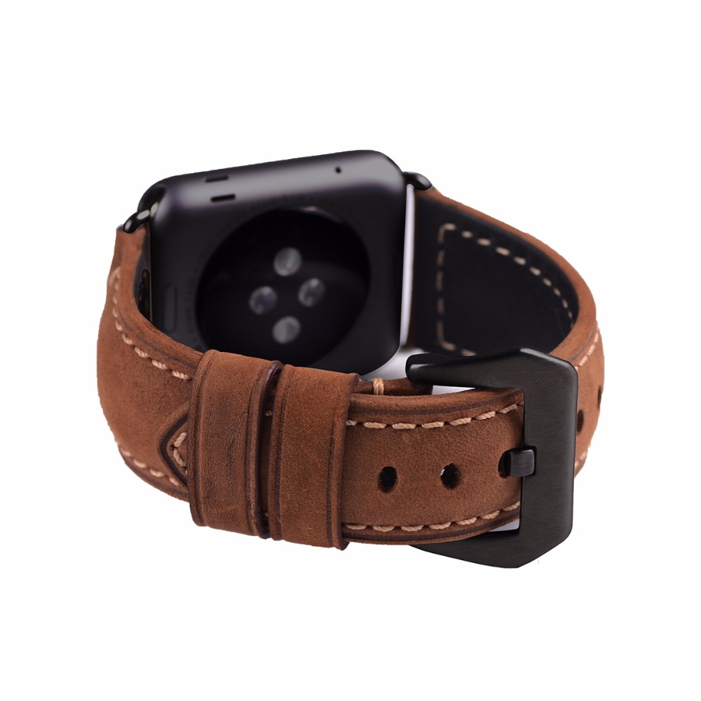 EACHE 42mm Genuine Leather Replacement watchband Fit For Apple crazy horse Straps  with siliver black Adapter Brown Yellow цена и фото