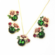 XQ fashion new exquisite jewelry flowers red green white color earrings for women and girls party gifts wholesale accessories