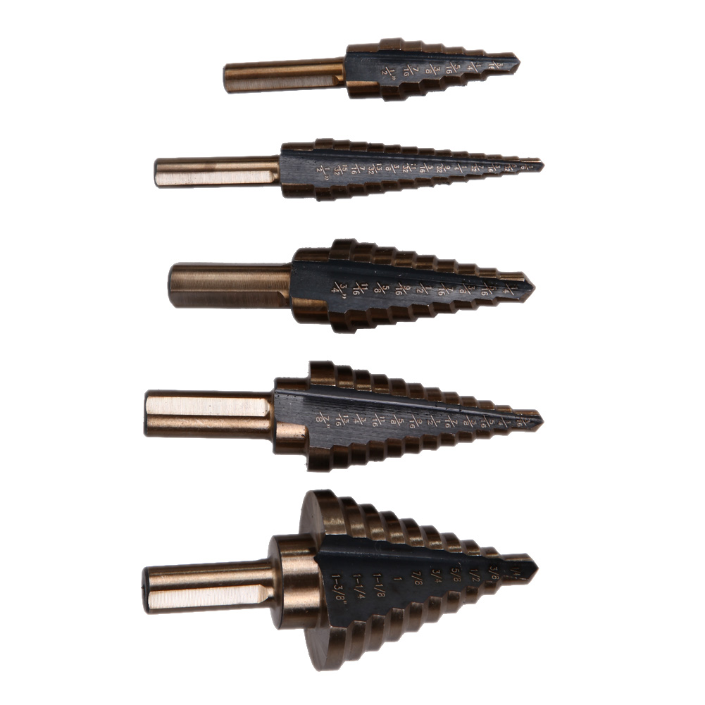 5pcs/set Cobalt Multiple Hole Step Drill Bit Set Step Cone Cutting Tools Steel Woodworking Wood Metal Drilling Set jelbo 3pc step drill hole countersink cone cutting tools drill bit set for wood metal power tools set hole cutter power tools